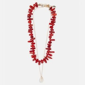 Red Stone Gold Seashell Double Summer Necklace